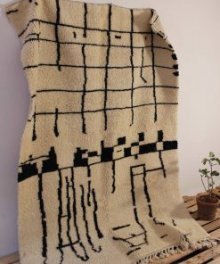 4×8 Akluf Beni ourain rug , The Authentic Black and White rug, The Moroccan Minimalist Berber White Area rug.