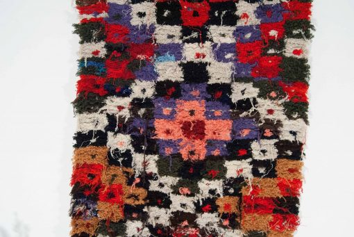 3×6 Alenas Boucherouite rug, The Psychedelic tapestry of Moroccan rugs.