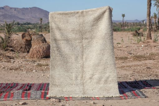 6×9 AkensusBeni ourain rug , The Authentic Black and White rug, The Moroccan Minimalist Berber White Area rug.
