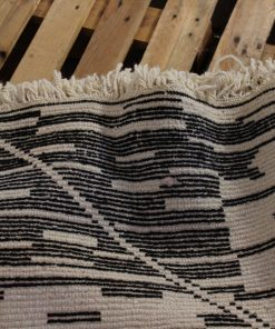 5×8 Aker Beni ourain rug , The Authentic Black and White rug, The Moroccan Minimalist Berber White Area rug.