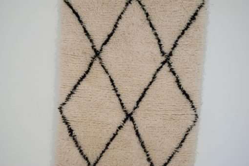 2×3 AgdadaBeni ourain rug , The Authentic Black and White rug, The Moroccan Minimalist Berber White Area rug.
