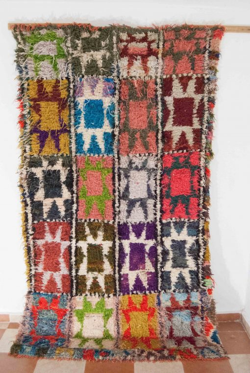 4×8 Aderbal Boucherouite rug, The Psychedelic tapestry of Moroccan rugs.