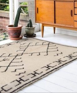Beni ourain rug , The Authentic Black and White rug, The Moroccan Minimalist Berber White Area rug 100% WOOL .