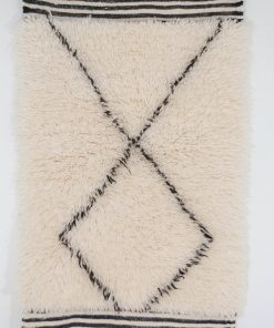 2×3 Adun Beni ourain rug , The Authentic Black and White rug, The Moroccan Minimalist Berber White Area rug