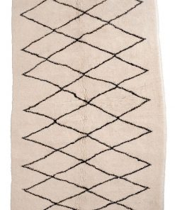 Beni ourain rug , The Authentic Blac and  rug, The Moroccan Minimalist Berber White Area rug 100% WOOL