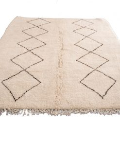 Beni ourain rug , The Authentic Black and White rug, The Moroccan Minimalist Berber White Area rug 100% WOOL