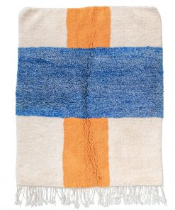 white and blue Modern Moroccan Rug contemporary art 186 x 170 cm / 6 x 5.4 ft