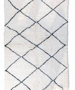Beni ourain rug , The Authentic white and black rug, The Moroccan rug 210 x 145 cm / 6.7 x 4.6 ft