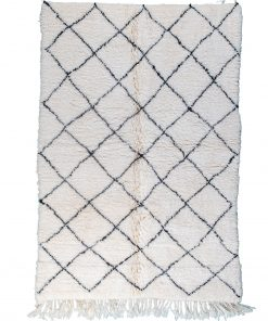 Beni ourain rug , The Authentic white and black rug, The Moroccan rug 198 x 143 cm / 6.3 x 4.6 ft