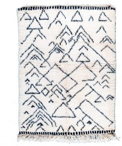 white and black Modern Moroccan Rug contemporary art 138 x 150 cm / 4.4 x 4.8 ft
