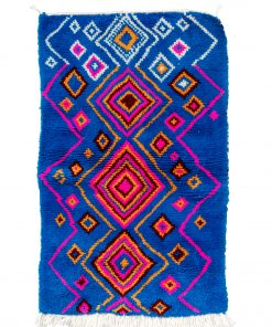 blue Modern Moroccan Rug contemporary 140 x 98 cm / 4.5 x 3.1 ft