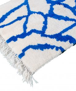 white and blue Modern Moroccan Rug contemporary art 149 x 94 cm / 4.8 x 3 ft