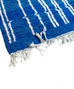 blue Modern Moroccan Rug contemporary 220 x 92 cm / 7 x 2.9 ft